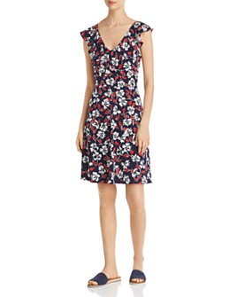 Leota - V-Neck Floral-Print Dress