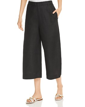 Three Dots - Cropped Wide-Leg Linen Pants