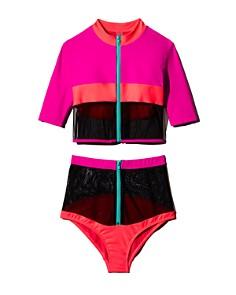 CHROMAT - Laverne Color-Block Mesh Rashguard & Laverne Color-Block Mesh Zip Bikini Bottom
