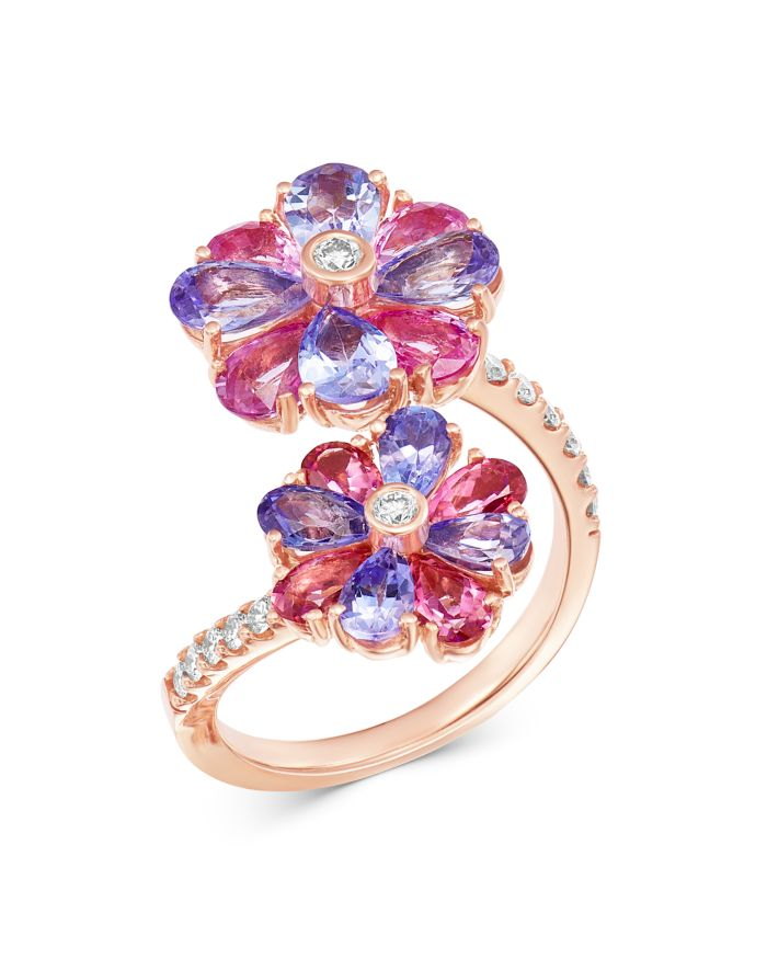 Bloomingdale's Tanzanite, Pink Sapphire & Diamond Bypass Ring in 14K Rose Gold - 100% Exclusive  | Bloomingdale's