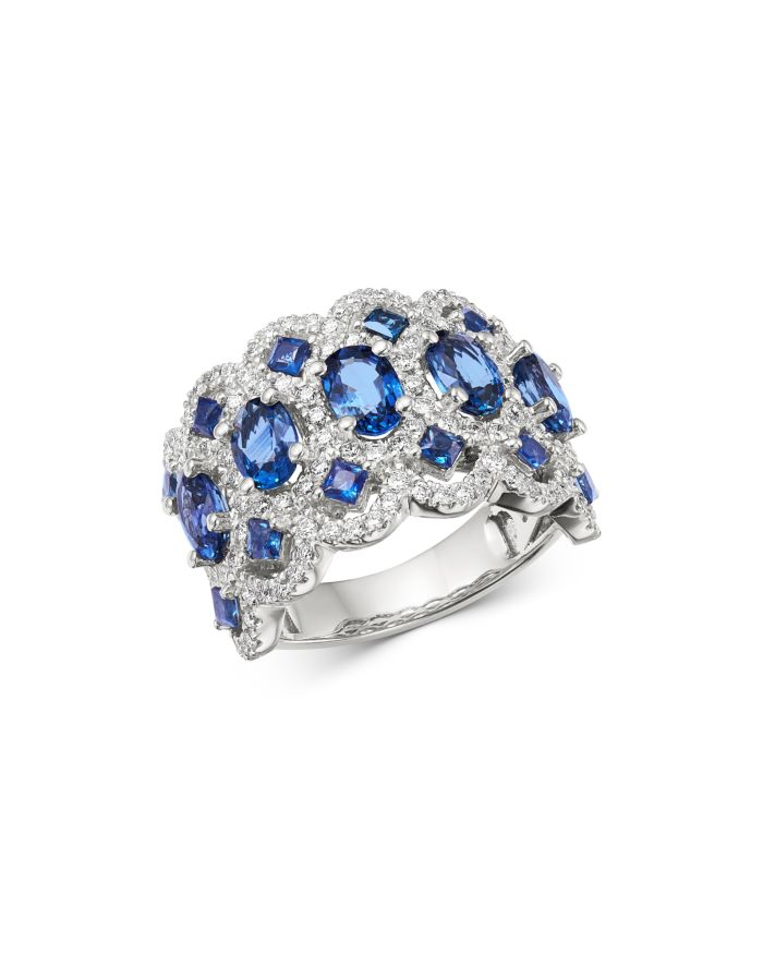 Bloomingdale's Blue Sapphire & Diamond Satement Band in 14K White Gold - 100% Exclusive  | Bloomingdale's