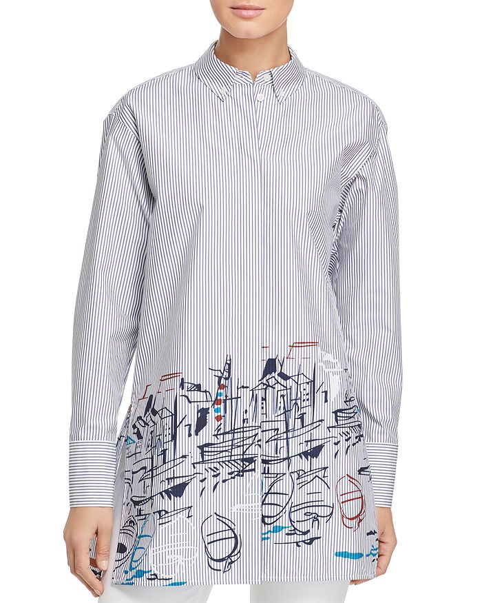 Lafayette 148 New York - Kehlani Painterly Striped Shirt