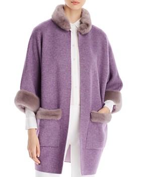 af79270c5 Maximilian Furs - Mink Fur-Trim Wool   Cashmere Kimono Coat - 100%  Exclusive ...