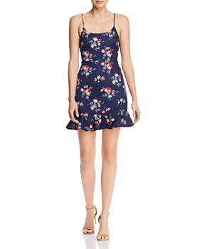 4e0e79b1ebe AQUA - Floral Flounce-Hem Mini Dress - 100% Exclusive ...