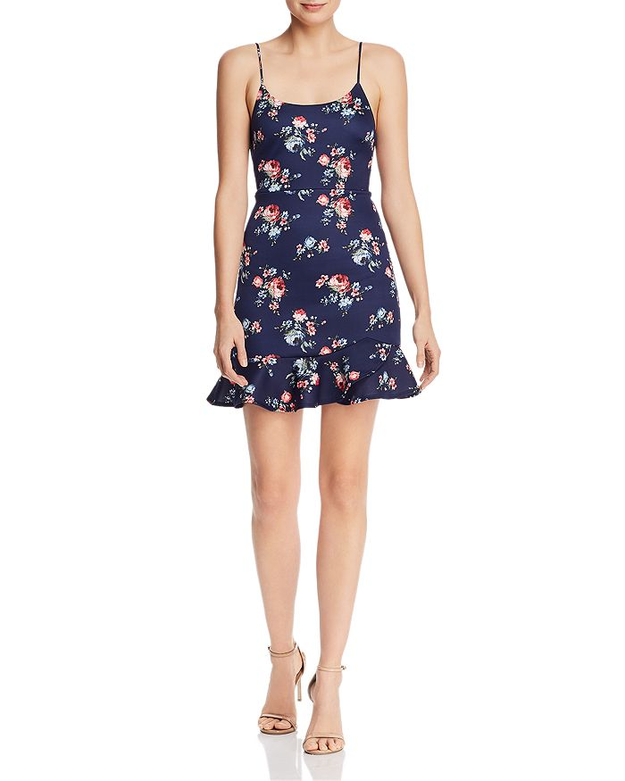 AQUA - Floral Flounce-Hem Mini Dress - 100% Exclusive