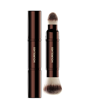 What It Is: The Hourglass Retractable Double-Ended Complexion Brush is a portable brush that includes applicators for both foundation/blush and concealer. What It Does: - Features Peta-approved, high-grade, ultra-soft Taklon bristles - Weighted metal handle provides control for effortless blending and application - May be used to apply liquid, cream or powder products - Taklon is an excellent alternative for those who suffer from allergies to animal hair - Taklon is a more hygienic alternative t