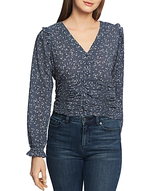1.state Tops FLORAL-PRINT RUCHED TOP