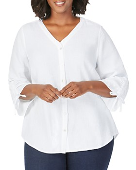 Foxcroft Plus - Marley Gauze Button-Back Shirt