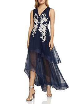 BCBGMAXAZRIA - Appliquéd High/Low Tulle Gown