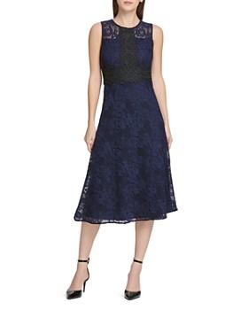 9f619f838e23 Donna Karan - Floral Lace Midi Dress ...