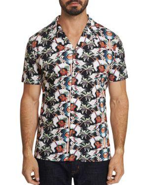 Robert Graham Tropical Ukuleles Camp Printed Short-Sleeve Slim Fit Shirt