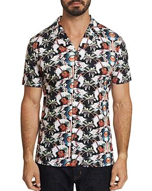 Robert Graham T-shirts TROPICAL UKULELES CAMP PRINTED SHORT-SLEEVE SLIM FIT SHIRT