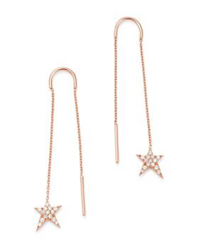 OWN YOUR STORY - 14K Rose Gold Cosmos Diamond Swinging Rockstar Threader Earrings