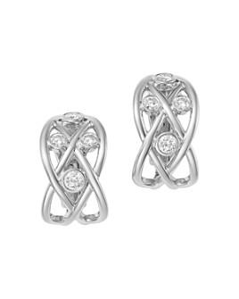 Roberto Coin - 18K White Gold Baci Diamond Openwork Huggie Hoop Earrings