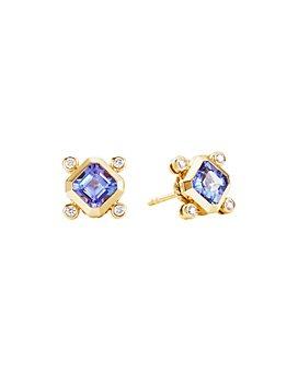 David Yurman - 18K Yellow Gold Novella Stud Earrings with Tanzanite & Diamonds