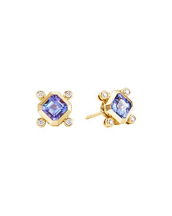David Yurman - 18K Yellow Gold Novella Stud Earrings with Tanzanite & Diamonds