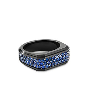 David Yurman - Black Titanium & Sterling Silver Pavé Roman Signet Ring with Sapphires