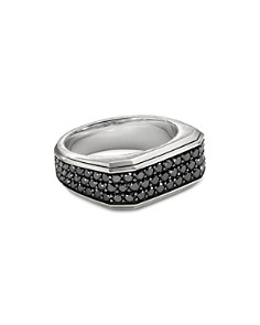 David Yurman - Sterling Silver Pavé Roman Signet Ring with Black Diamonds