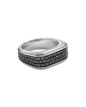 David Yurman - Sterling Silver Pavé Roman Signet Ring with Black Diamonds