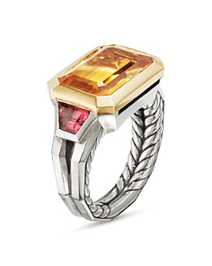 David Yurman - Sterling Silver Novella Three-Stone Ring with Citrine & 18K Yellow Gold