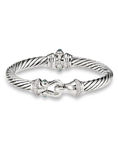 David Yurman - Sterling Silver Cable Buckle Bracelet with Hampton Blue Topaz & Diamonds