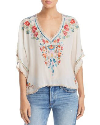 Klarah Embroidered Contrast Blouse by Johnny Was
