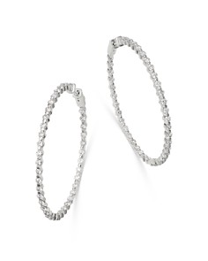 Bloomingdale's - Diamond Inside-Out Large Hoop Earrings in 14K White Gold, 4.0 ct. t.w. - 100% Exclusive