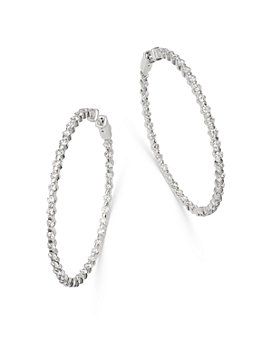 Bloomingdale's - Diamond Inside-Out Large Hoop Earrings in 14K White Gold, 4.0 ct. t.w. - 100% Exclusive