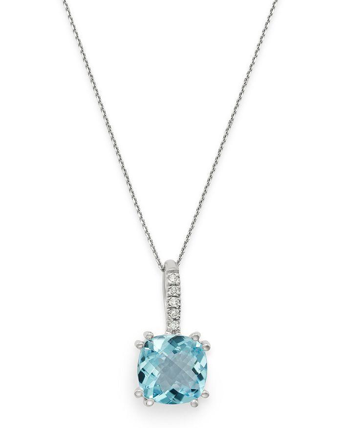 "Bloomingdale's - Aquamarine & Diamond Pendant Necklace in 14K White Gold, 16"" - 100% Exclusive"