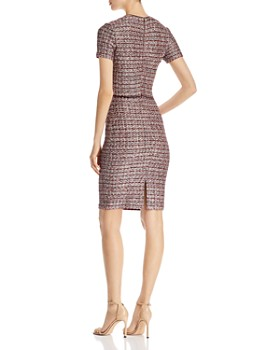 St. John - Textured Contrast-Trim Check Pattern Dress