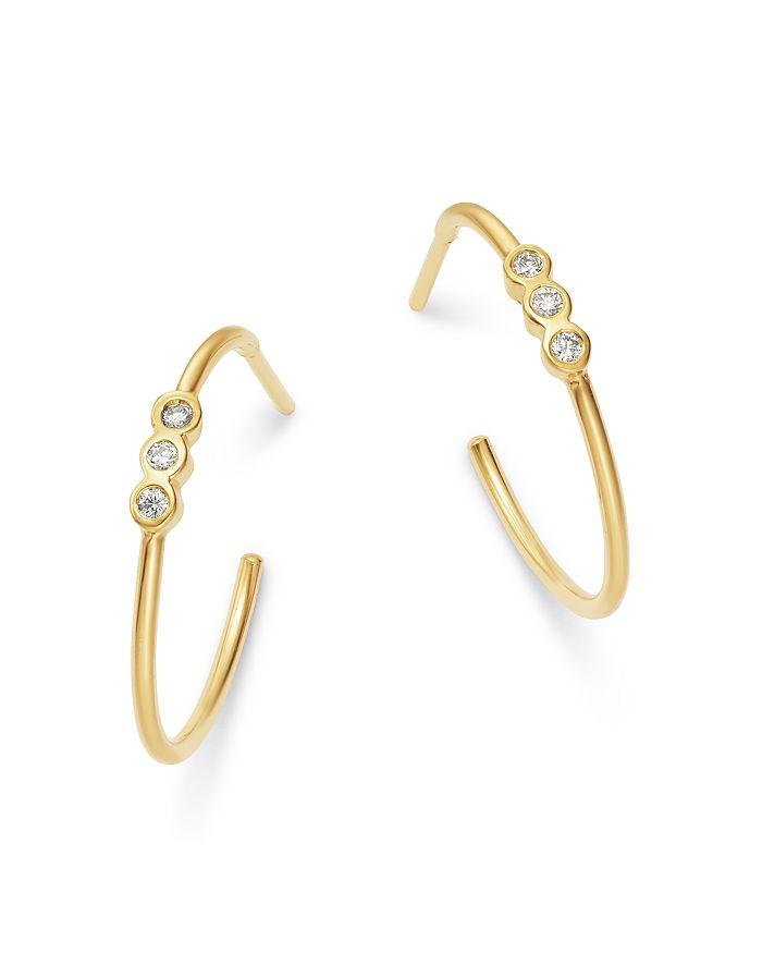 Zoë Chicco 14K YELLOW GOLD DIAMOND SMALL HOOP EARRINGS