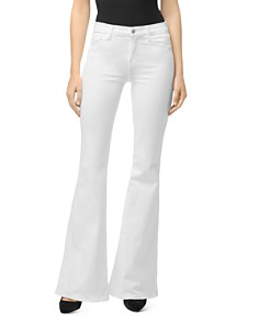 J Brand - Valentina High-Rise Flared Jeans in Blanc