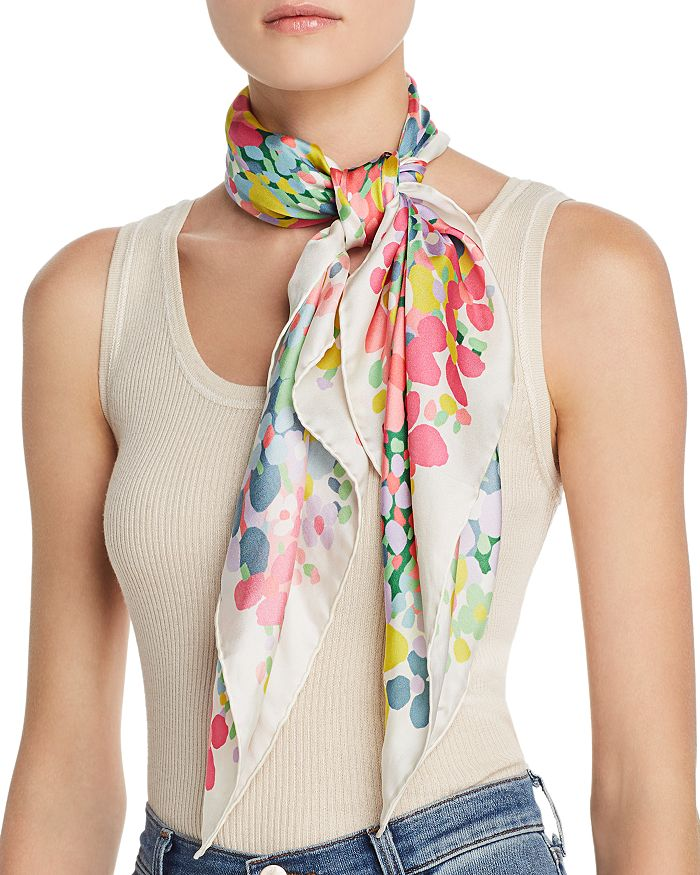 kate spade new york - Floral Dots Silk Scarf