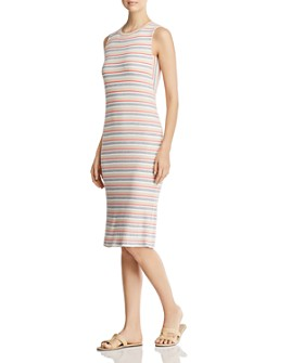 Red Haute - Sleeveless Striped Ribbed Dress