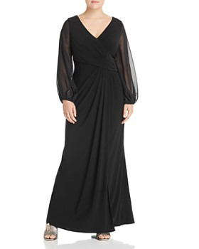 Adrianna Papell Plus - Draped Sheer-Sleeve Gown
