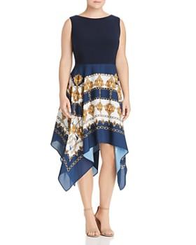 69ad3c2e4dba Adrianna Papell Plus - Scarf-Print Handkerchief Combo Dress ...