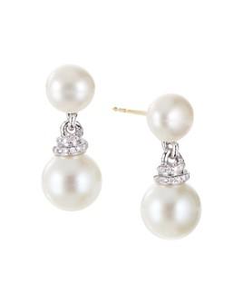 David Yurman - Sterling Silver Continuance Pearl Drop Earrings with Diamonds