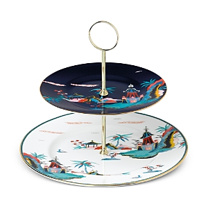 Wedgwood Wonderlust Blue Pagoda 2-Tier Cake Stand-Home