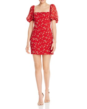 Fame and Partners - Puff Sleeve Floral-Print Mini Dress
