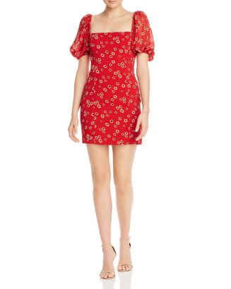 Puff Sleeve Floral Print Mini Dress by Fame And Partners