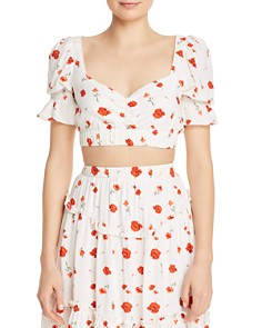 Charlie Holiday - Valentine Floral-Print Cropped Top