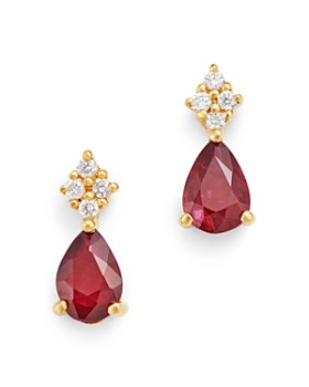 Bloomingdale's - Ruby & Diamond Small Drop Earrings in 14K Yellow Gold - 100% Exclusive