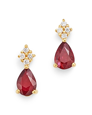 Bloomingdale's Ruby & Diamond Small Drop Earrings in 14K Yellow Gold - 100% Exclusive