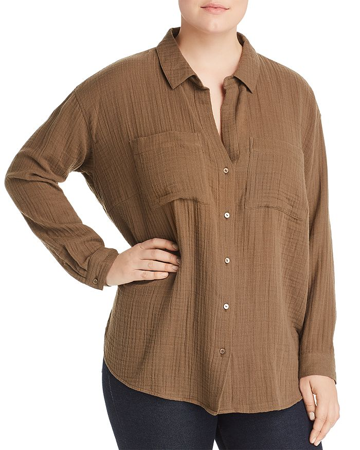 Eileen Fisher Plus - Plissé Organic Cotton Button-Down Top