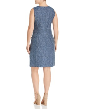 Lafayette 148 New York Plus - Brett Sleeveless Notched-V-Neck Dress