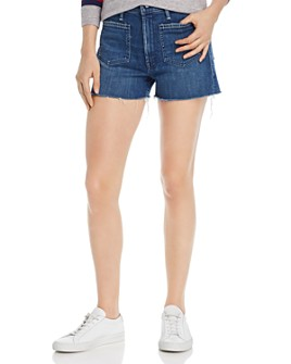 MOTHER - The Tomcat Patch Pocket Frayed Denim Shorts in Three Little Ships
