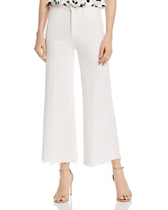 MOTHER - The Swooner Roller Cropped Wide-Leg Jeans in Whipping The Cream