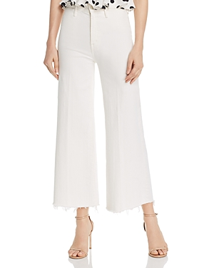 Mother The Swooner Roller Cropped Wide-Leg Jeans in Whipping The Cream