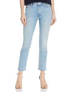 MOTHER - The Dazzler Frayed Cropped Straight-Leg Jeans in Reading By The Pool