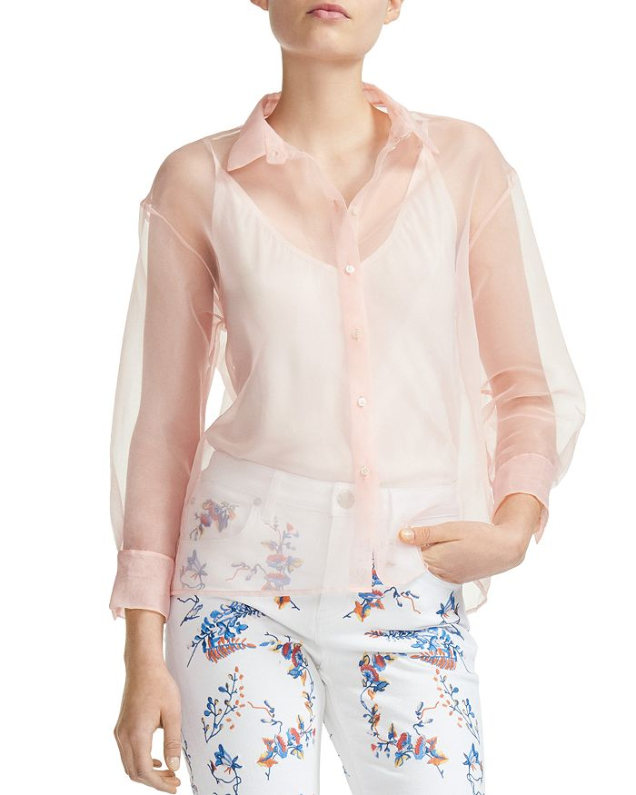 Maje - Cloane Organza Button-Down Shirt